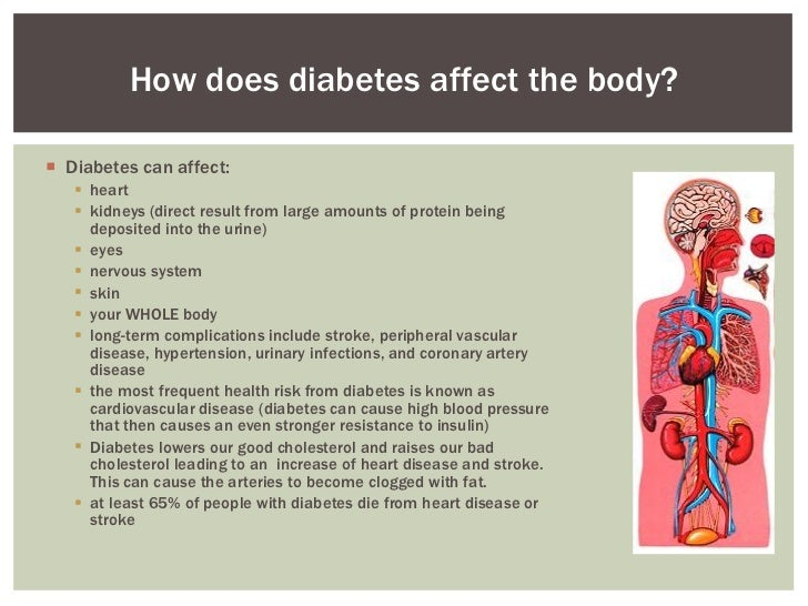 a look at diabetes and how it affects the body People also need to ensure they look after their feet properly as high levels of blood glucose can cause foot problems this can stop nerves thrush - a yeast infection - tends to affect warm, moist areas of the body such as the vagina, penis, mouth and certain areas of skin thrush is more common in.