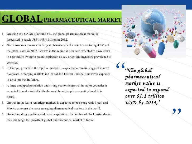 GLOBAL PHARMACEUTICAL MARKET1. Growing at a CAGR of around 8%, the global pharmaceutical market is   forecasted to reach U...