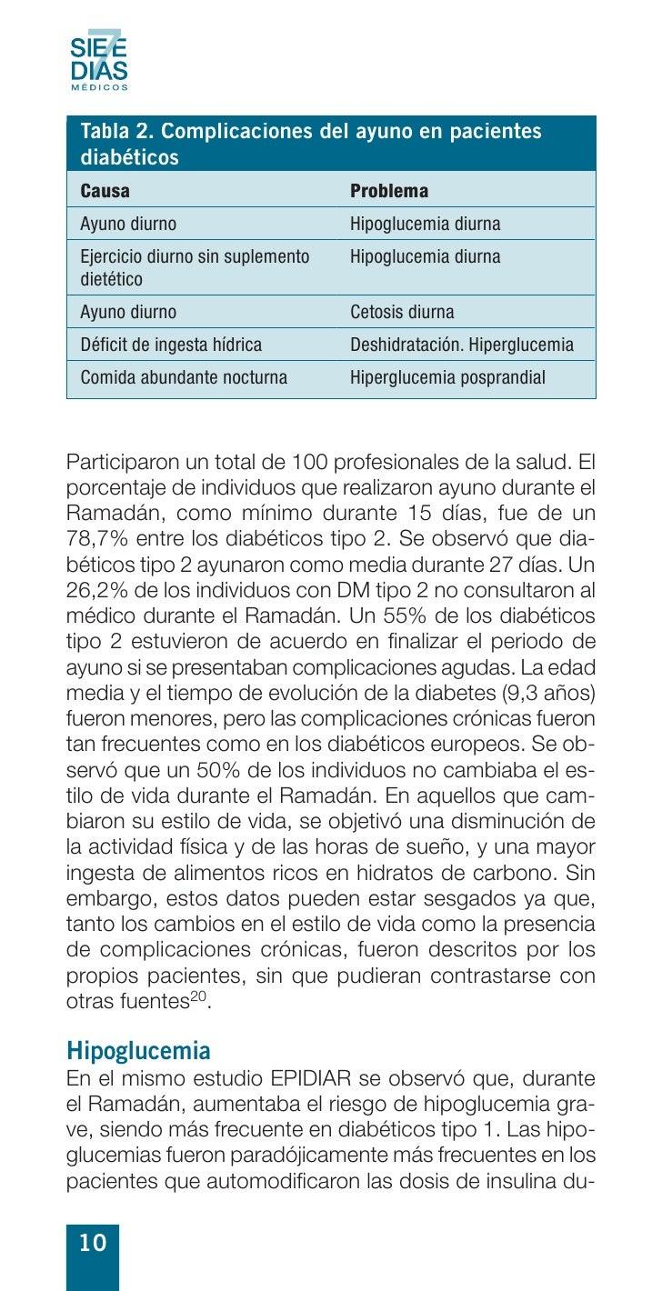 Tabla 2. Complicaciones del ayuno en pacientes  diabéticos  Causa                             Problema  Ayuno diurno      ...