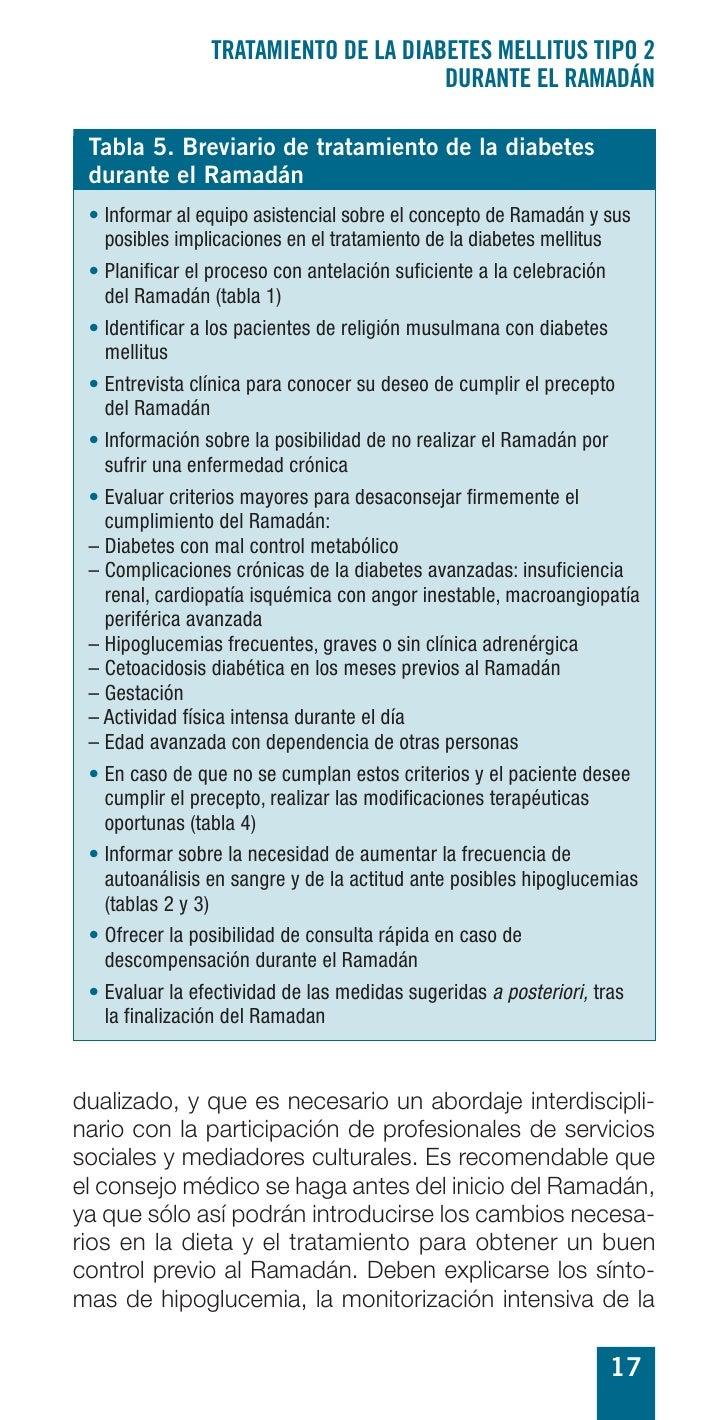 TRATAMIENTO DE LA DIABETES MELLITUS TIPO 2                                       DURANTE EL RAMADÁN   Tabla 5. Breviario d...