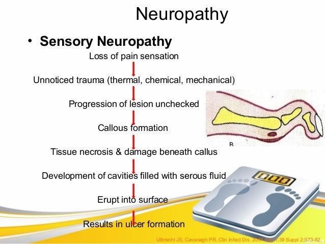Neuropathy• Sensory Neuropathy              Loss of pain sensationUnnoticed trauma (thermal, chemical, mechanical)        ...