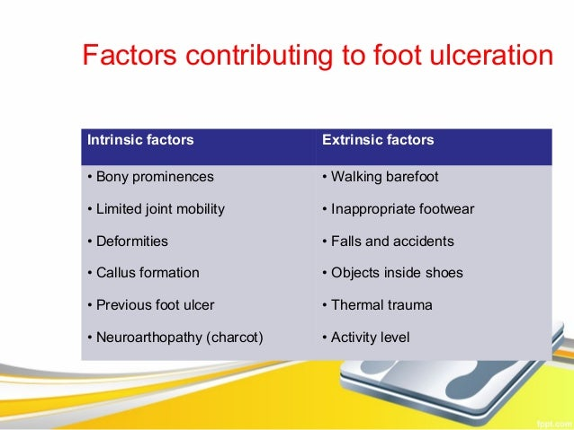 Factors contributing to foot ulcerationIntrinsic factors             Extrinsic factors• Bony prominences            • Walk...