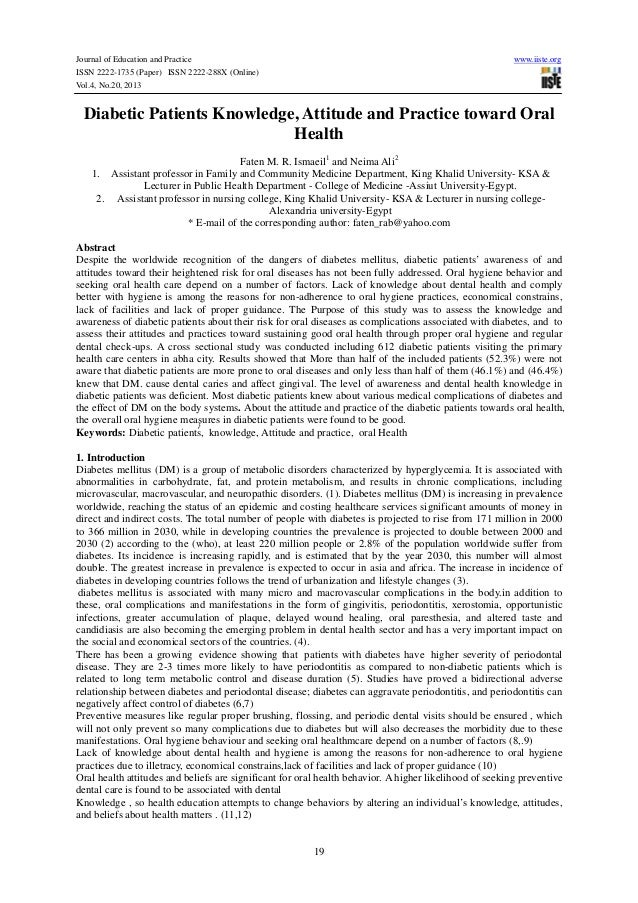 Journal of Education and Practice ISSN 2222-1735 (Paper) ISSN 2222-288X (Online) Vol.4, No.20, 2013  www.iiste.org  Diabet...