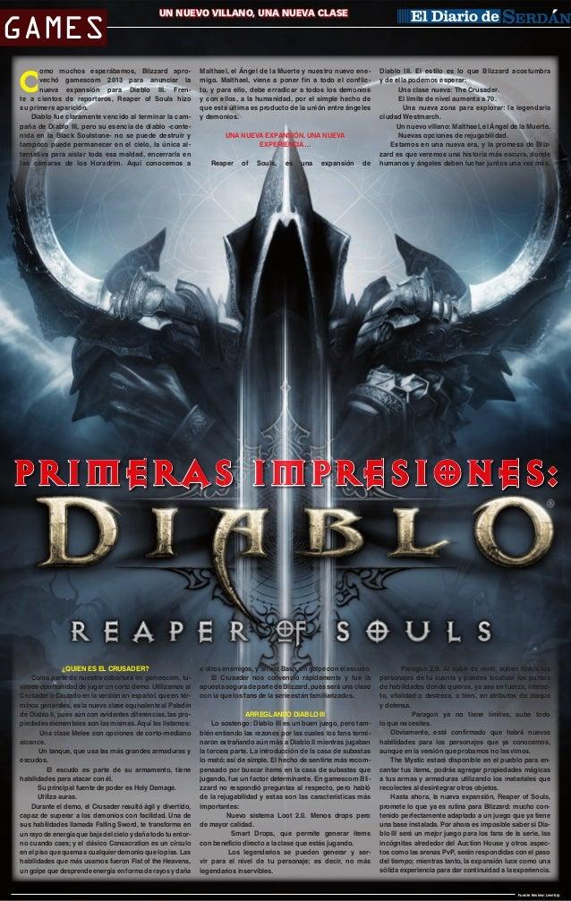 Games  Un nuevo villano, una CIUDAD SERDÁNnueva clase  omo muchos esperábamos, Blizzard aprovechó gamescom 2013 para anunc...
