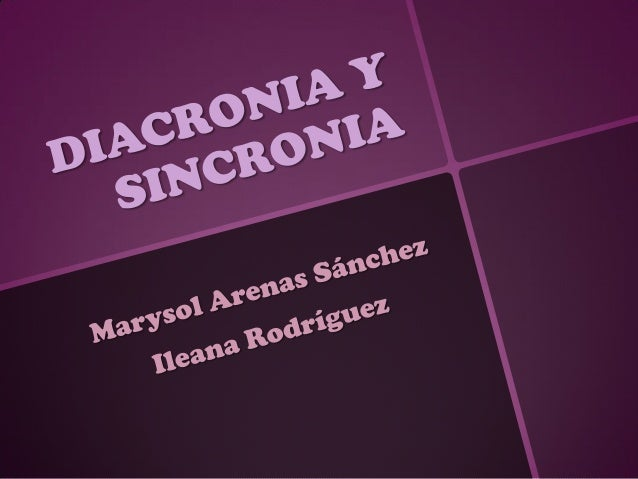 Diacronia y sincronia