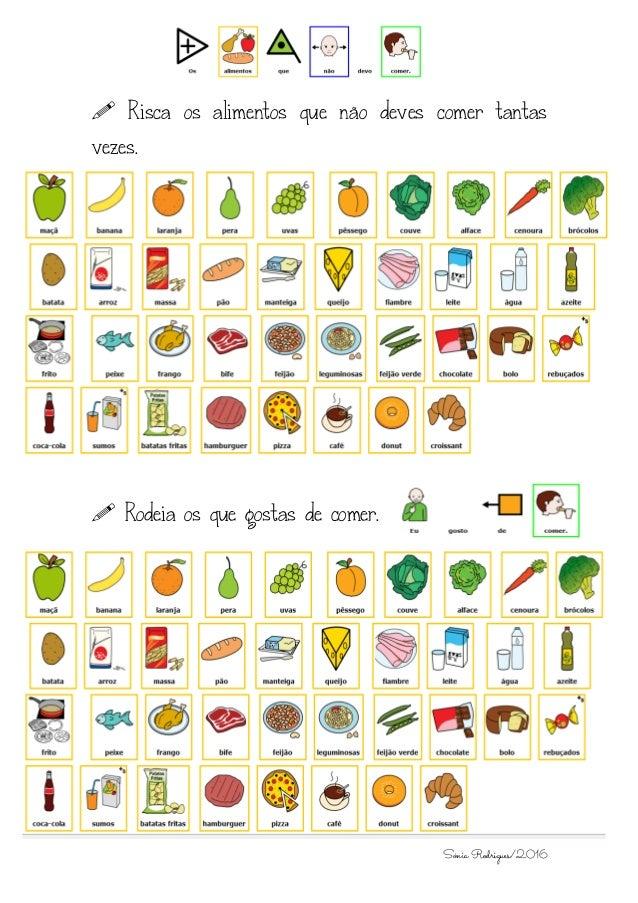 Sónia Rodrigues/2016  Risca os alimentos que não deves comer tantas vezes.  Rodeia os que gostas de comer.