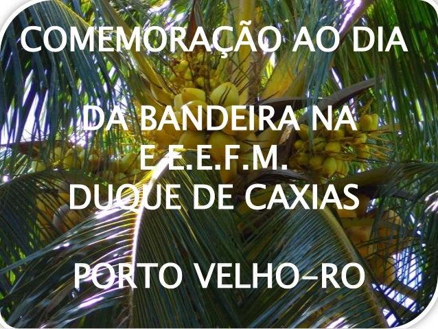 COMEMORAÇÃO AO DIA DA BANDEIRA NA E.E.E.F.M. DUQUE DE CAXIAS PORTO VELHO-RO