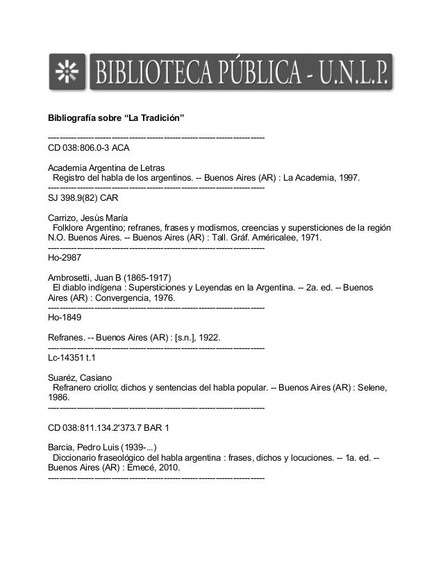 """Bibliografía sobre """"La Tradición"""" --------------------------------------------------------------------------- CD 038:806.0..."""