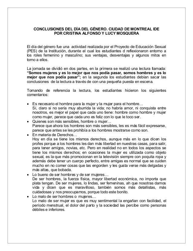 CONCLUSIONES DEL DÍA DEL GÉNERO. CIUDAD DE MONTREAL IDE            POR CRISTINA ALFONSO Y LUCY MOSQUERAEl día del género f...