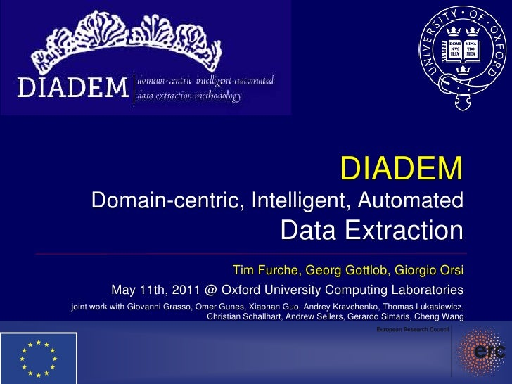 DIADEMDomain-centric, Intelligent, Automated Data Extraction<br />Tim Furche, Georg Gottlob, Giorgio Orsi<br />May 11th, 2...
