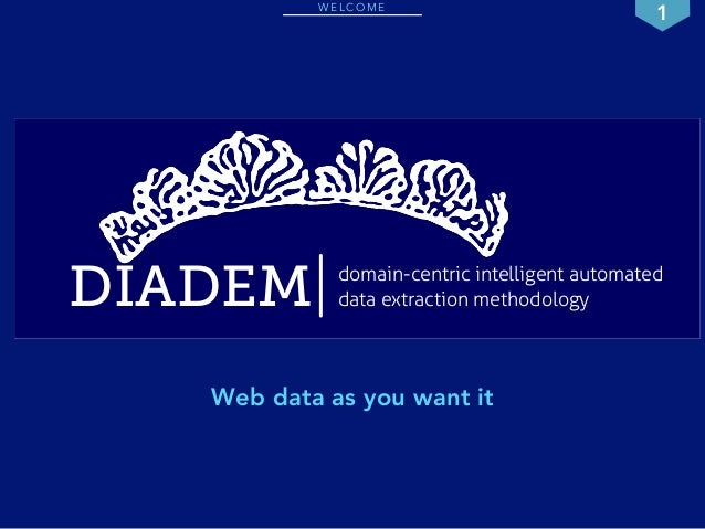 WELCOME 1  DIADEM data extraction methodology  domain-centric intelligent automated  Web data as you want it