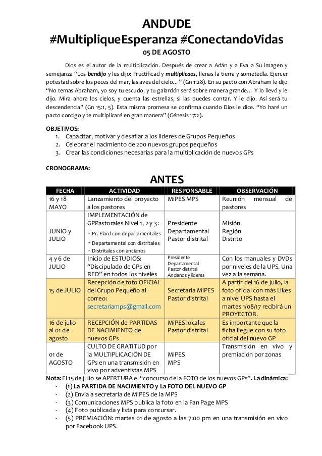 ANDUDE #MultipliqueEsperanza #ConectandoVidas 05 DE AGOSTO Dios es el autor de la multiplicación. Después de crear a Adán ...