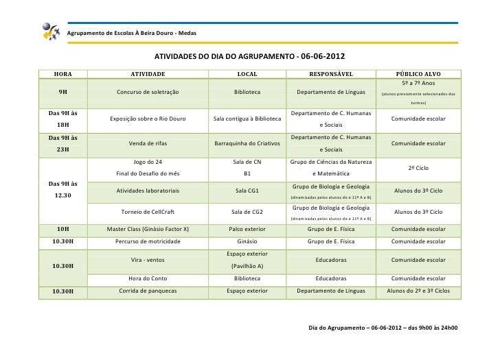 Agrupamento de Escolas À Beira Douro - Medas                                    ATIVIDADES DO DIA DO AGRUPAMENTO - 06-06-2...