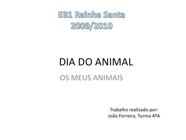 EB1 Rainha Santa<br />2009/2010<br />DIA DO ANIMAL<br />OS MEUS ANIMAIS<br />Trabalho realizado por:João Ferreira, Turma 4...
