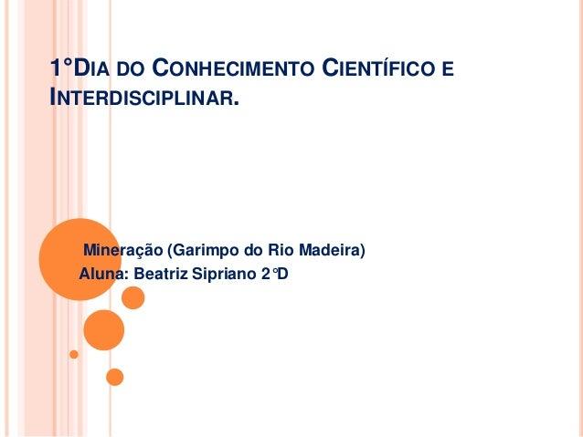 1°DIA DO CONHECIMENTO CIENTÍFICO E INTERDISCIPLINAR. Mineração (Garimpo do Rio Madeira) Aluna: Beatriz Sipriano 2°D
