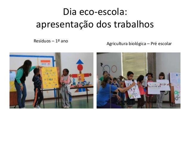 Dia eco-escola: apresentação dos trabalhos Resíduos – 1º ano Agricultura biológica – Pré escolar