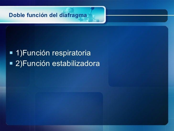 Doble función del diafragma <ul><li>1)Función respiratoria </li></ul><ul><li>2)Función estabilizadora </li></ul>