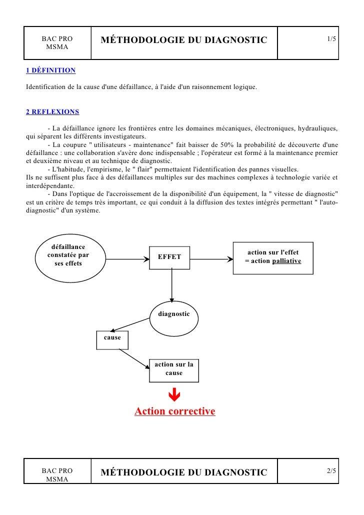 BAC PRO              MÉTHODOLOGIE DU DIAGNOSTIC                                                      1/5       MSMA   1 DÉ...