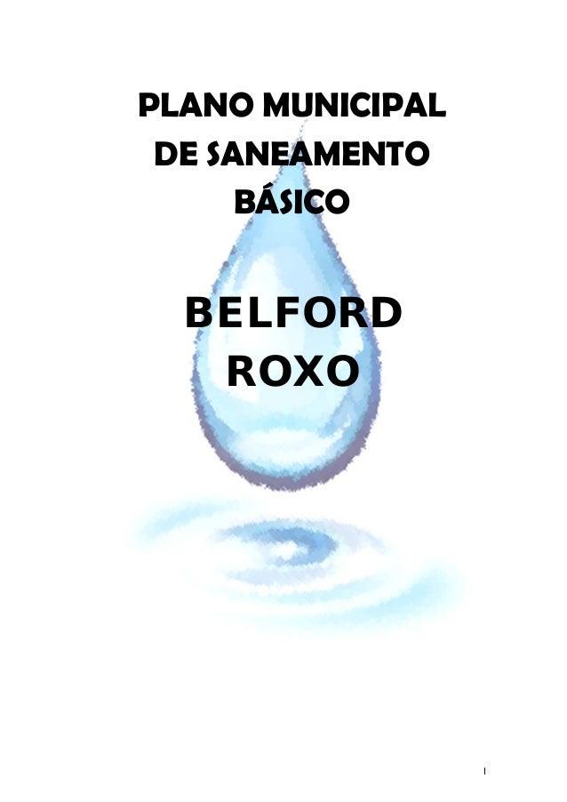 I BELFORD ROXO PLANO MUNICIPAL DE SANEAMENTO BÁSICO