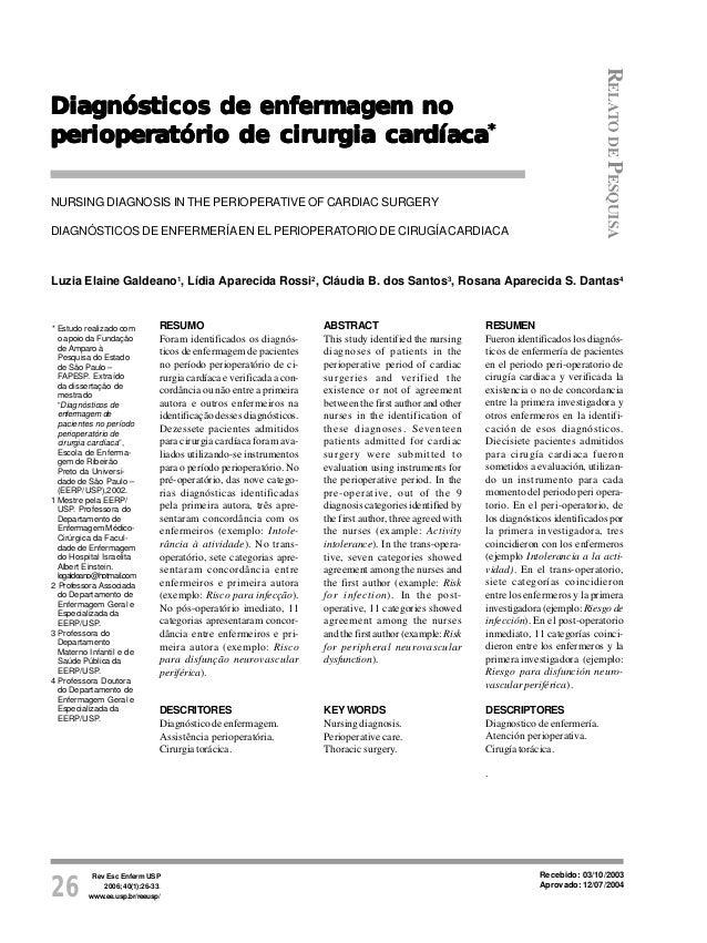 Rev Esc Enferm USP 2006; 40(1):26-33. www.ee.usp.br/reeusp/26 Diagnósticos de enfermagem no perioperatório de cirurgia car...