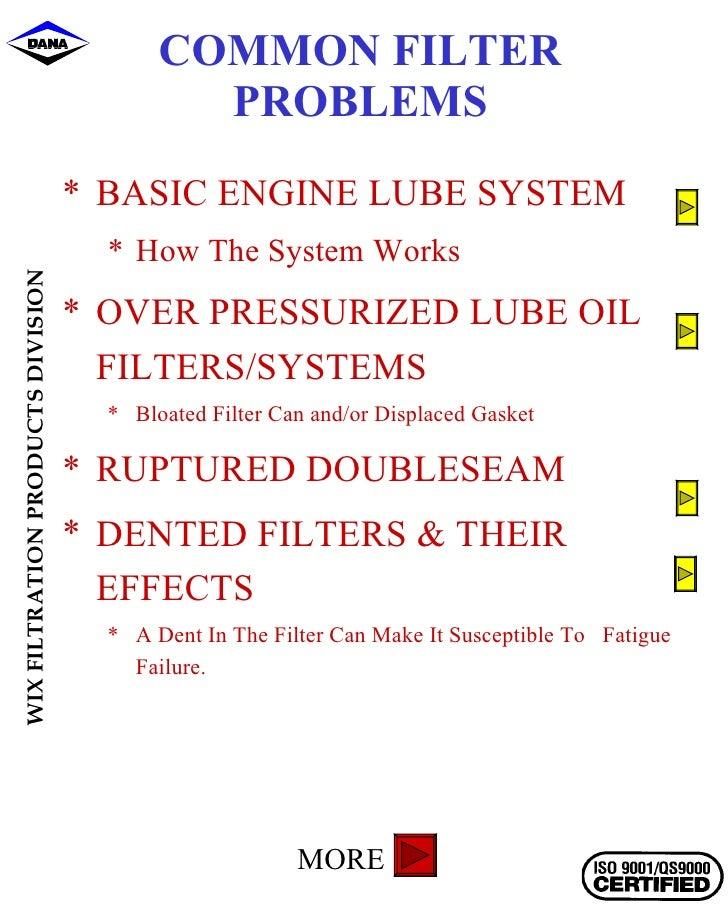 COMMON FILTER PROBLEMS <ul><li>BASIC ENGINE LUBE SYSTEM </li></ul><ul><ul><li>How The System Works </li></ul></ul><ul><li>...