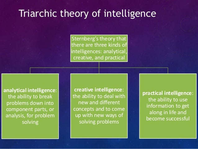 triarchic theory of intelligence The triarchic theory of intelligence was developed by robert sternberg and attempts to explain how intelligence works in humans sternberg believed that intelligence was more complex than one all-encompassing general type of intelligence, which was the idea that dominated most of the previous.