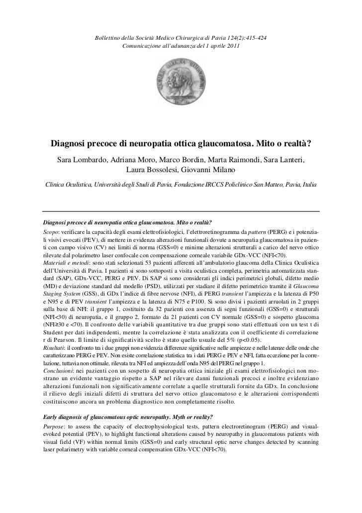 Bollettino della Società Medico Chirurgica di Pavia 124(2):415-424                                  Comunicazione all'adun...