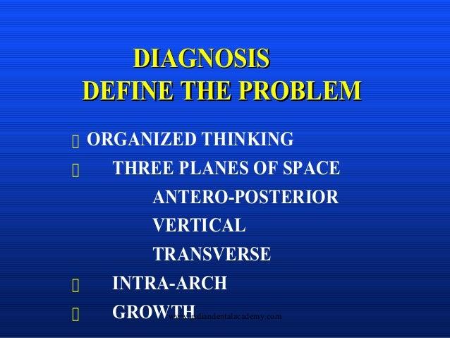 DIAGNOSIS DEFINE THE PROBLEM DIAGNOSISDIAGNOSIS DEFINE THE PROBLEMDEFINE THE PROBLEM ORGANIZED THINKING THREE PLANES OF SP...