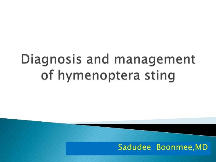 Diagnosis and management of hymenoptera sting <br />SadudeeBoonmee,MD<br />
