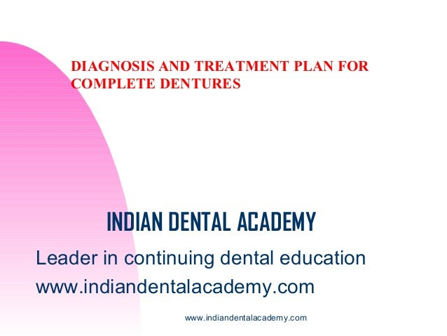 DIAGNOSIS AND TREATMENT PLAN FOR COMPLETE DENTURES  INDIAN DENTAL ACADEMY Leader in continuing dental education www.indian...