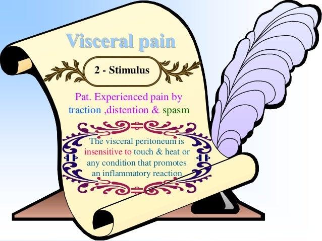 Visceral pain 3 - Mediation Thalamus Corpuscollosum Hypothalamus CerebralCortex Pons Medulla Spinalcord Cerebellum Autonom...