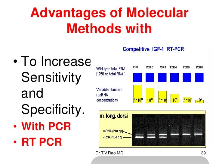 Advantages of Molecular      Methods with• To Increases  Sensitivity  and  Specificity.• With PCR• RT PCR             Dr.T...
