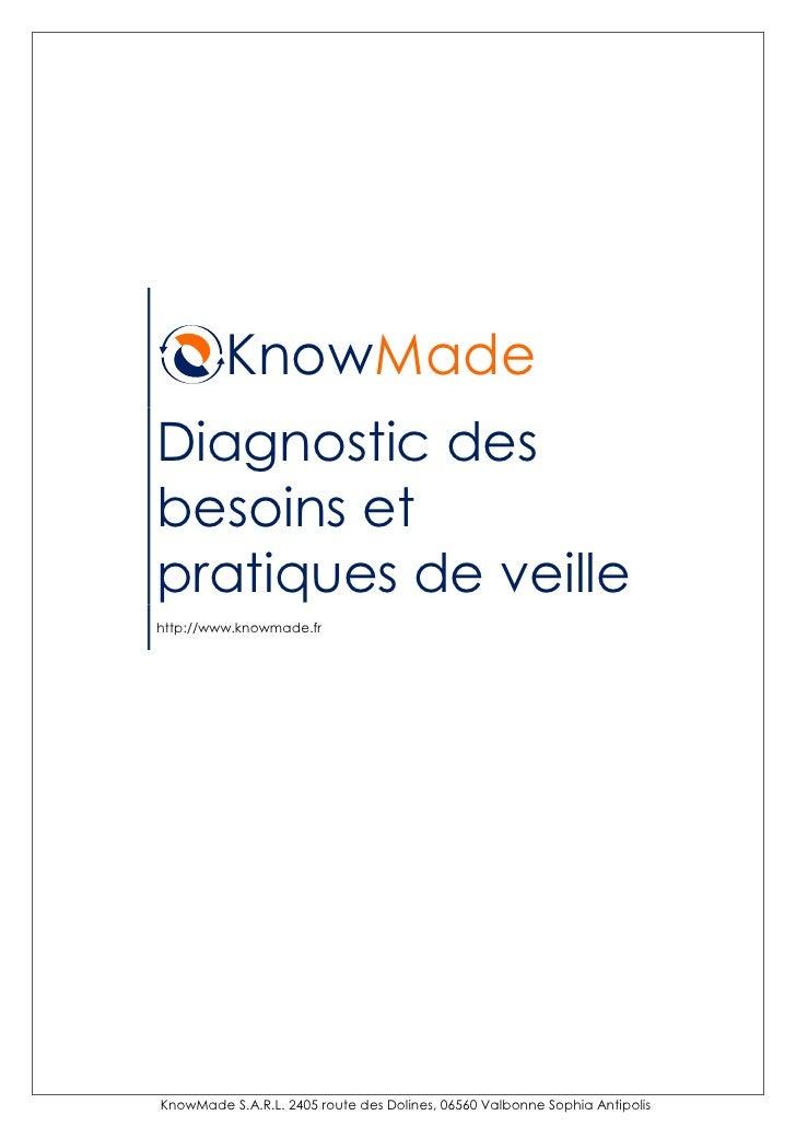 KnowMade Diagnostic des besoins et pratiques de veille http://www.knowmade.fr     KnowMade S.A.R.L. 2405 route des Dolines...