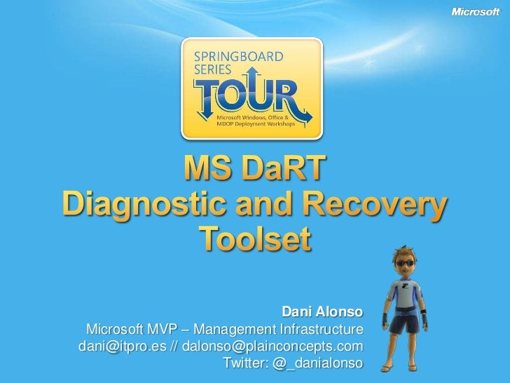 MS DaRT<br />Diagnostic and Recovery Toolset<br />Dani Alonso<br />Microsoft MVP – Management Infrastructure<br />dani@itp...