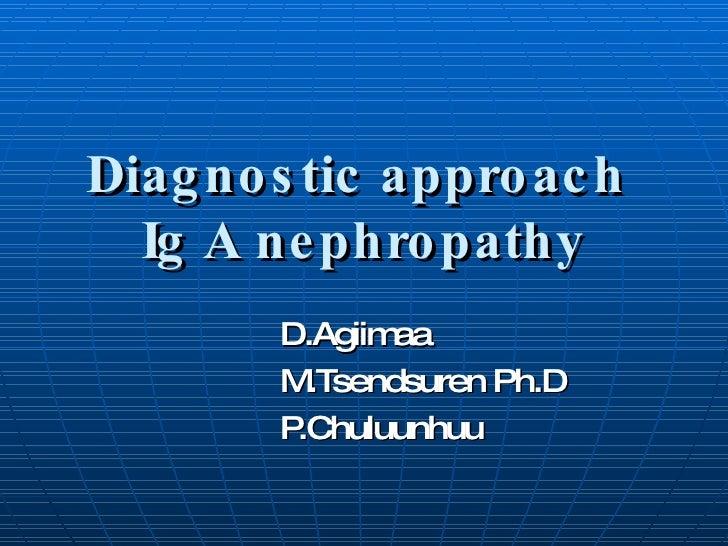 Diagnostic approach  Ig A nephropathy D.Agiimaa M.Tsendsuren Ph.D P.Chuluunhuu