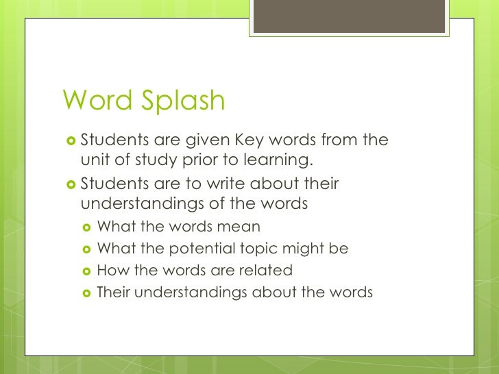 Word Splash Template Diagnostic Assessment Ideas