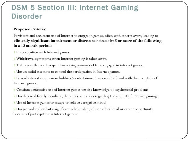 Diagnostic considerations internet gaming use disorder