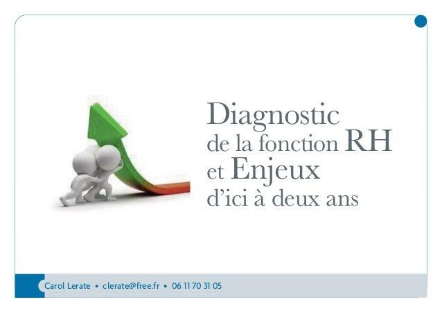 Diagnostic  de la fonction RH et Enjeux d'ici à deux ans  Carol Lerate • clerate@free.fr • 06 11 70 31 05