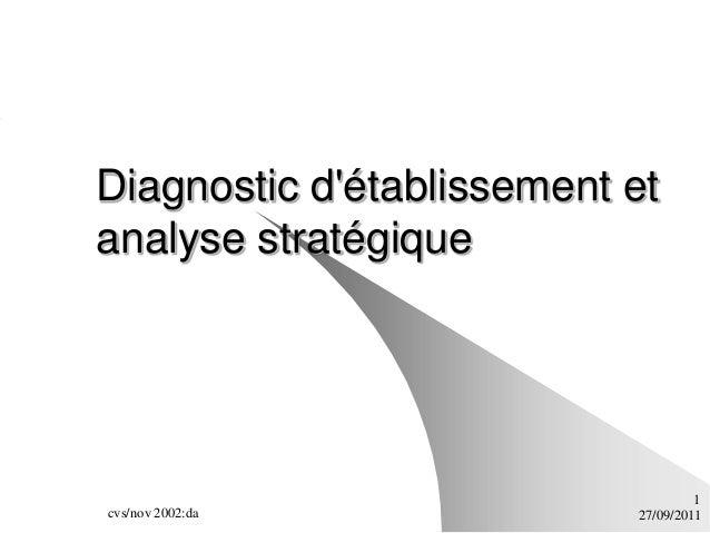 Diagnostic détablissement etanalyse stratégique                                    1cvs/nov 2002:da            27/09/2011