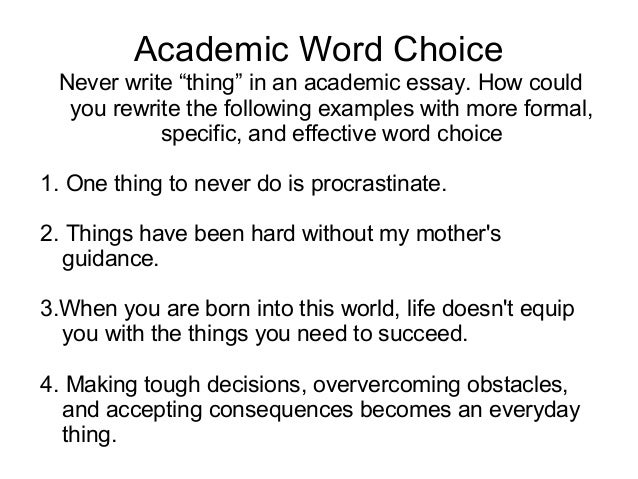 "diagnostic essay revision lesson academic word choice never write ""thing"" in an academic essay"