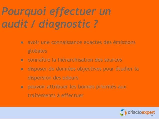 Pourquoi effectuer un audit / diagnostic ? ● avoir une connaissance exactes des émissions globales ● connaître la hiérarch...