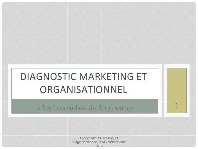DIAGNOSTIC  MARKETING  ET   ORGANISATIONNEL   Diagnostic Marketing et Organisationnel IFAG décembre 2014 1«Tout c...