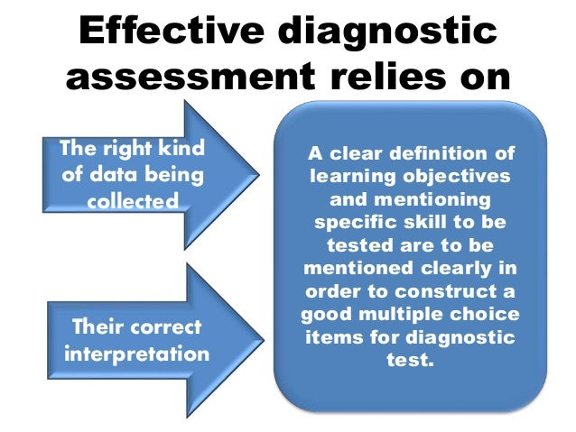 diagnostic assessment Diagnostic assessment is important because it establishes a  your instruction  and class activities are developed to achieve those objectives.