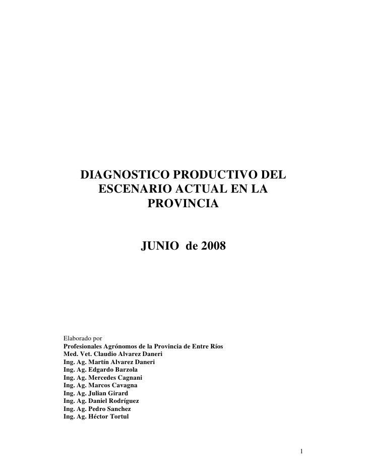 DIAGNOSTICO PRODUCTIVO DEL        ESCENARIO ACTUAL EN LA              PROVINCIA                            JUNIO de 2008  ...