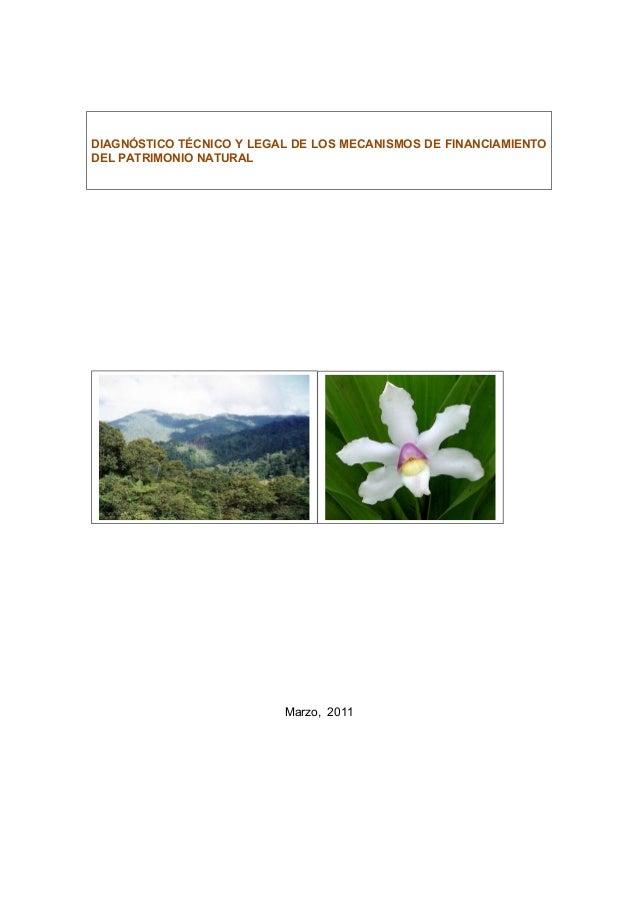 DIAGNÓSTICO TÉCNICO Y LEGAL DE LOS MECANISMOS DE FINANCIAMIENTODEL PATRIMONIO NATURALMarzo, 2011