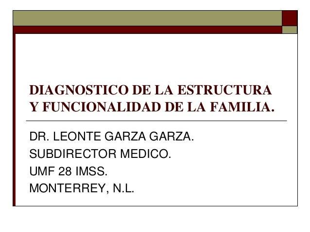 DIAGNOSTICO DE LA ESTRUCTURA Y FUNCIONALIDAD DE LA FAMILIA. DR. LEONTE GARZA GARZA. SUBDIRECTOR MEDICO. UMF 28 IMSS. MONTE...