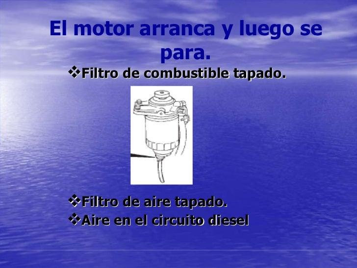 El motor arranca y luego se            para.    Filtro de combustible tapado.        Filtro de aire tapado.    Aire en el ...