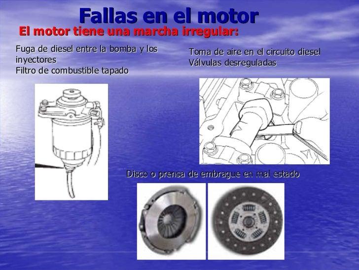 Fallas en el motor El motor tiene una marcha irregular: Fuga de diesel entre la bomba y los      Toma de aire en el circui...