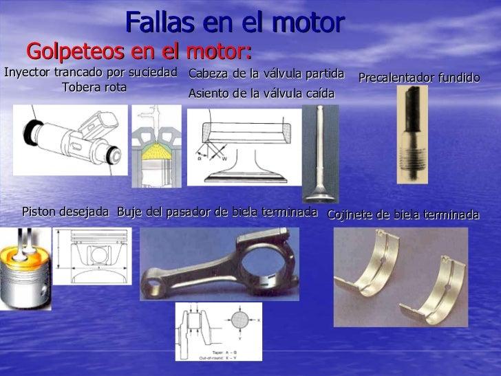 Fallas en el motor    Golpeteos en el motor: Inyector trancado por suciedad Cabeza de la válvula partida   Precalentador f...