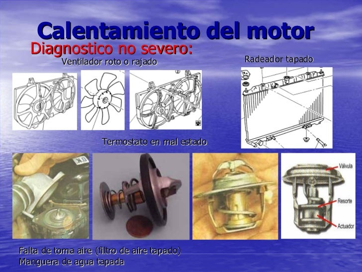 Calentamiento del motor   Diagnostico no severo:            Ventilador roto o rajado             Radeador tapado          ...